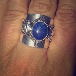 Genuine lapis ring in sterling silver